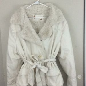 IVORY FUR TRIM & QUILTED LINING WOMENS JACKET XXL